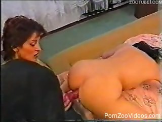 Brunette zoofil with round bottom gets banged from behind